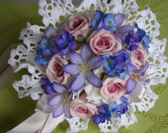 Victorian Wedding Bouquet, Bridal Bouquet, Flower Girl Bouquet, Romantic Keepsake Doily Bouquet, W-73