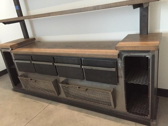 High Quality OFFICE: Modern Industrial Office Credenza And Shelving Unit