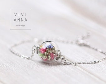 Silver bracelet with colorful flowers - A051