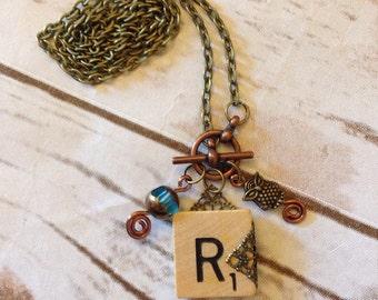 Scrabble Tile R necklace