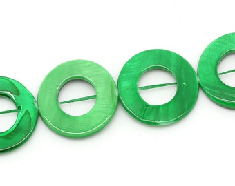5 Green Multi Color Print Shell Beads Disc By