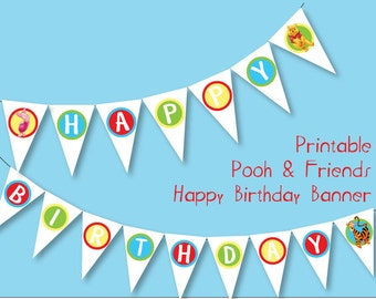 Printable Birthday Banner - Pooh & Friends Party