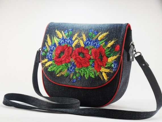 Denim bag embroidered tote shopping black by