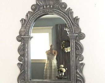 Decorative Wall Hanging Mirror Vanity Bathroom Mirror Roman Scallop Shell Style Slate Gray