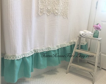 shabby chic shower curtain burlap bathroom curtain custom made white with aqua blue turquoise