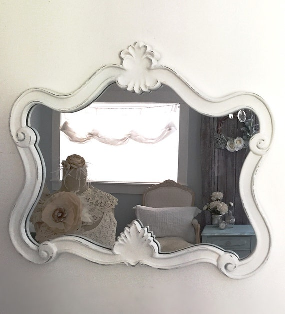 White baroque nursery mirror shabby cottage chic by for White baroque style mirror