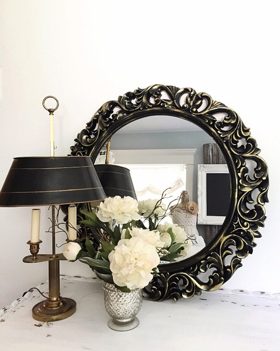 Black gold baroque mirror large vintage style by farmhousefare for Old style mirror