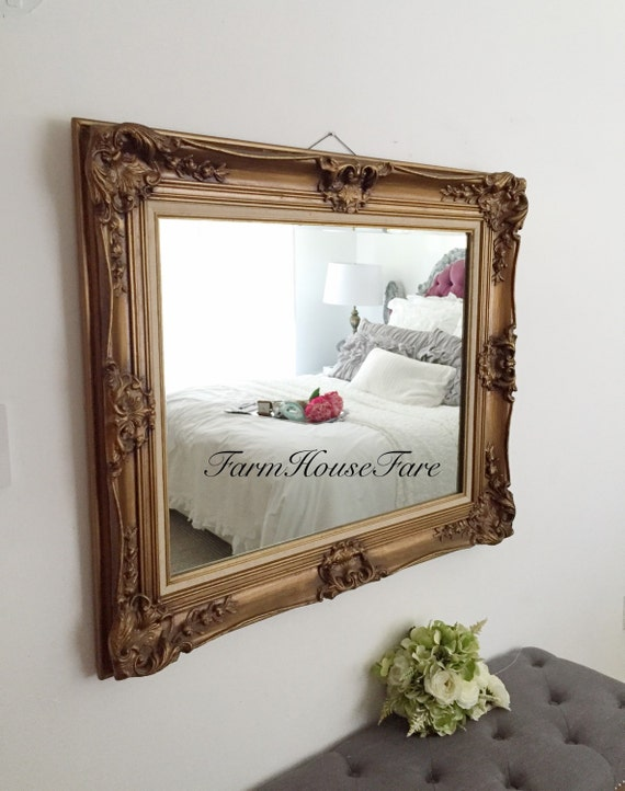 Bathroom mirror large antique baroque mirror by farmhousefare for Baroque bathroom mirror