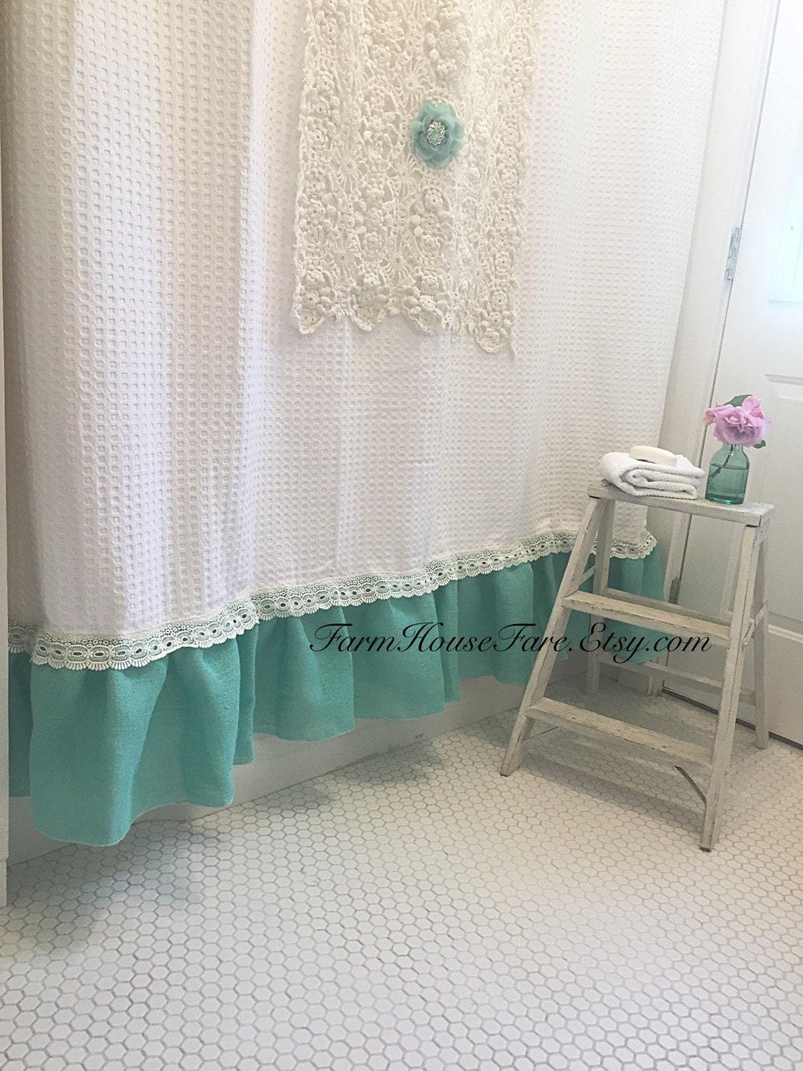 Shabby Chic Shower Curtain Burlap Bathroom Curtain Custom Made