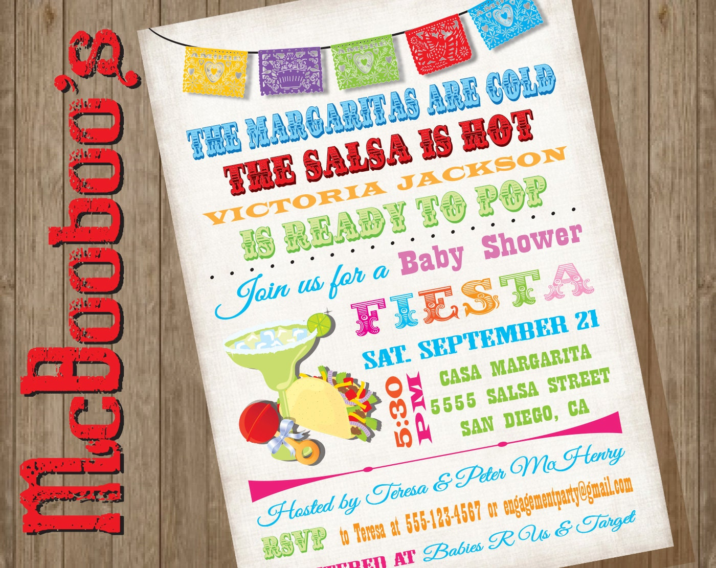 mexican fiesta baby shower invitations with tacos and
