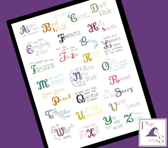 doctors letter doctor who themed alphabet quotes cross stitch pdf pattern 10588