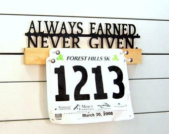 "Running Race Bib Holder - 12"" Pick your Phrase"