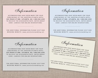 INFORMATION - Printable Details Cards, Custom Wedding Insert, Information Card, Wedding Suite Separates, Additional Information Card, Custom