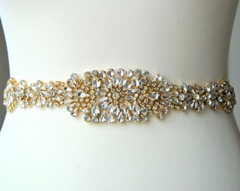 "18"" Gold Crystal Luxury Bridal Sash,Wedding Dress Sash Belt, Rhinestone Bridal Bridesmaid Sash Belt, Wedding dress sash Silver"