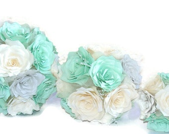 Mint green paper Rose bouquet, Choice of 3 sizes made in colors custom colors of your choice, Keepsake bouquet, Wedding bouquet