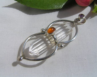 Quartz crystal pendant with carnelian and amethyst
