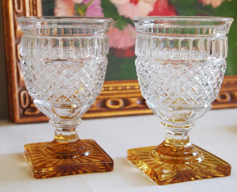 Vintage short stemmed amber footed wine glasses sold by - Short stemmed wine glass ...