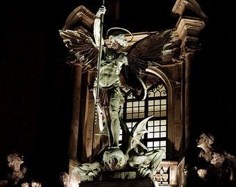 St. Michael The Archangel Statue, Fine Art Photography, 8x12 print, Christian wall art, angel art, statue photo, angel statue, baroque decor