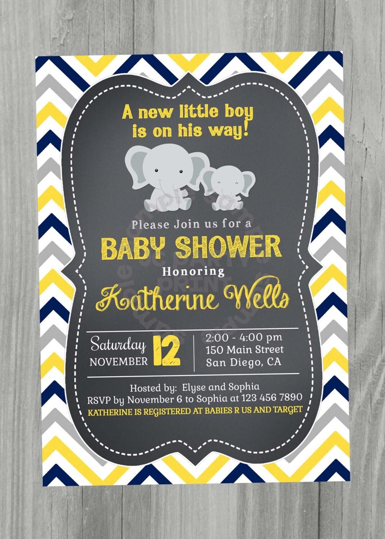 yellow blue and grey chevron baby shower invitation