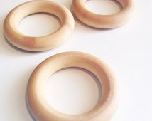 """Wooden Teething Ring, Compliant 2.5"""" Maple Teething Ring, Wooden Teether, Waldorf Toy - Single Ring"""