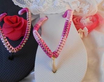 Havaianas Flip Flops Pink on Black White Summer 2017 Designer Unique Wedding Accessories Crystals Bridal Gift sandals statement Fashion