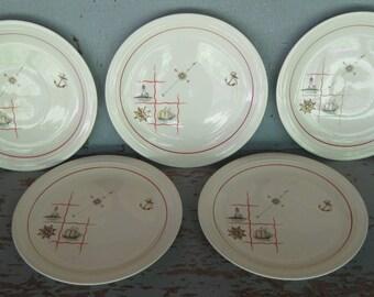 Set of 5 Vintage Steubenville Nautical Dinner Plates