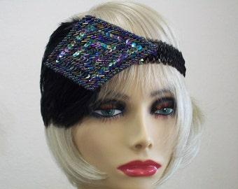 Flapper Headband, Gatsby Headband, 1920s Headband, Flapper Headpiece, Art Deco Headband, Iridescent Black,  1920s Hair Accessories
