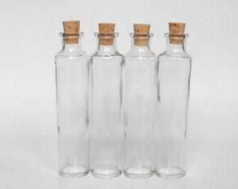Clear Glass conica bottles set (4) with cork, 4 oz, 120 ml, small conica glass vase centerpiece, DIY gift, wedding favor, party favor