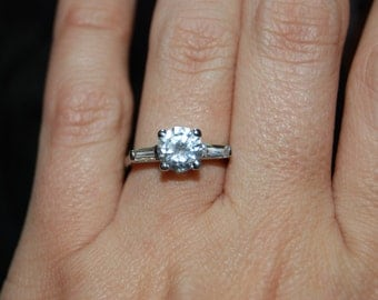 Vintage Round Stone and Baguette CZ Sterling Classic Timeless Engagement Wedding Solitaire Ring #BKC-RNG120