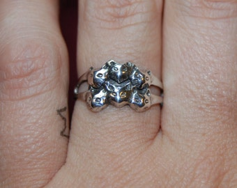 Retro Vintage Sterling Silver 6 Six Kitty Cat Faces Stacked Ring Sterling 925 Band #BKC-KRNG90