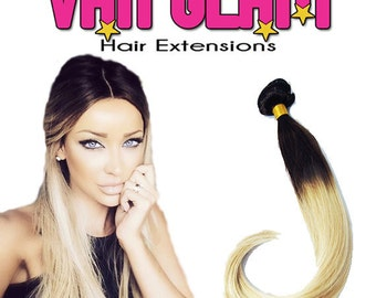 """Dynamic High Contrast Dark Brown Platinum Blonde Ombre Clip In Extensions 24"""""""