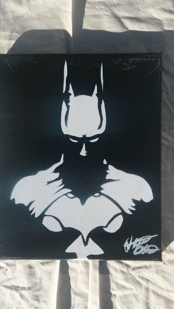 batman 8x10 minimalist spray paint art on canvas made with hand cut. Black Bedroom Furniture Sets. Home Design Ideas