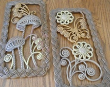 Plastic 1960's Wall or Fence decor, Two Pieces With Mushrooms, Butterflies and Flowers, Groovy Baby, Perfect Baby Boomer Patio Decorations!