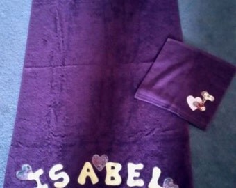 personalised bath towel and facewasher