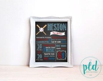 Baseball Birthday Chalkboard Print 16x20