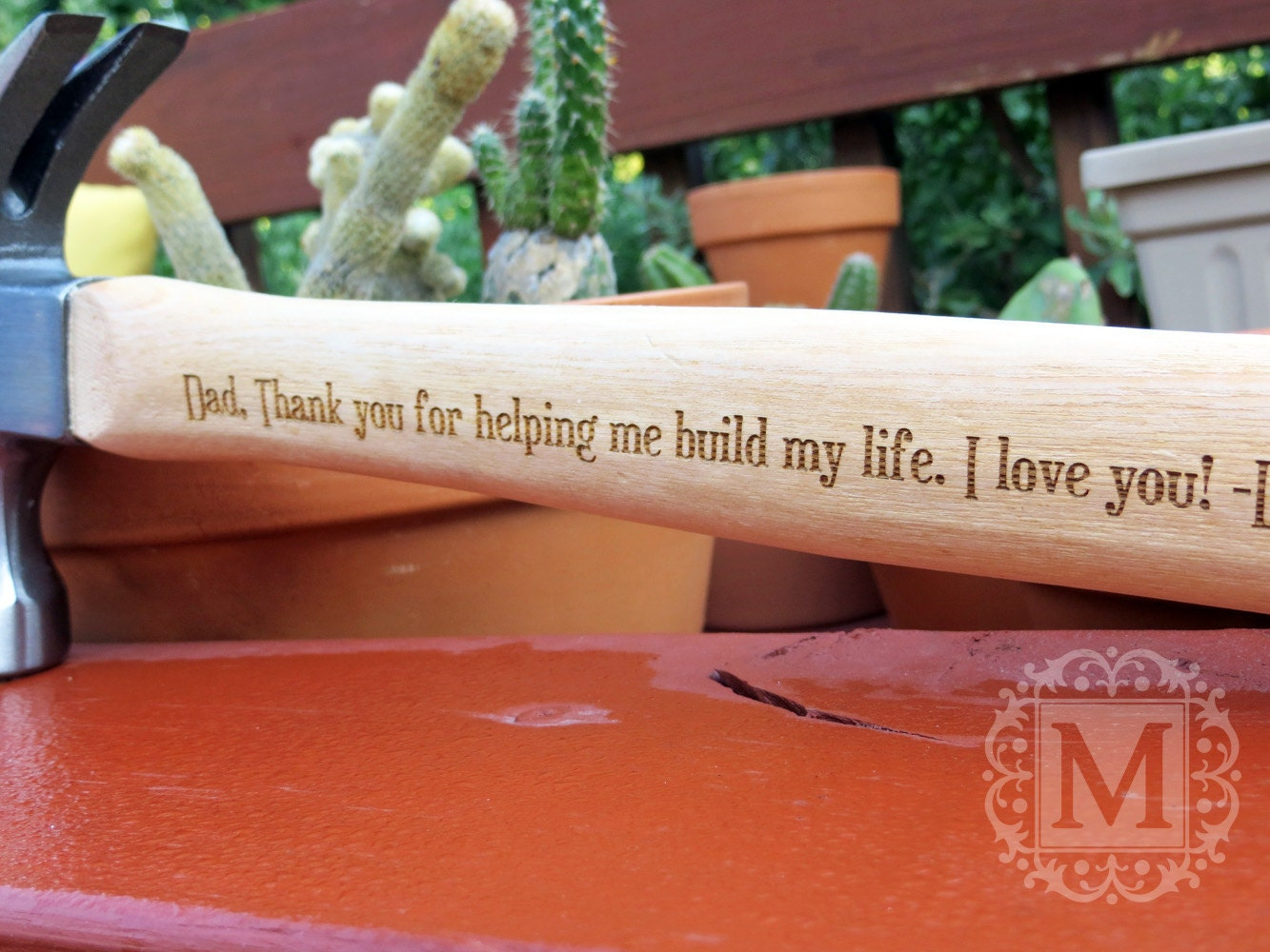 Th anniversary gift wood engraved personalized by