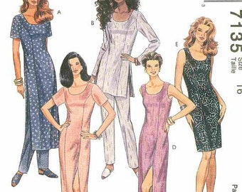 McCall's  Pattern 7135, Misses' Fitted Princess Seamed Dress in two Lengths, Tunic and Slimming Pants, Uncut  New  Size 8 or Size 16. ©1990s