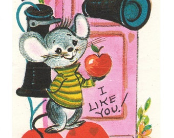 Mouse and Old Fashioned Telephone Vintage Valentine