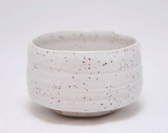 White Speckled Chawan/Tea Bowl w/ free whisk - #45