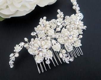 Statement Bridal hair comb, Pearl Wedding headpiece, Crystal Bridal hair comb, Rhinestone hair comb, Flower headpiece, Hair accessory