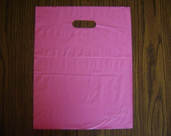 25 pack 9X12 Hot Pink Merchandise Bags Glossy Handles Low Density Handle Gift Bags