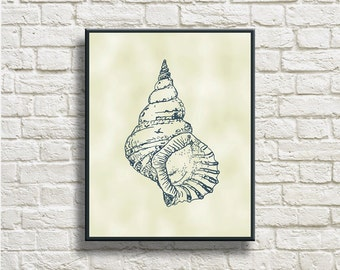 Conch Silhouettes Printable Instant Download Home Decor Wall Decor Wall Hanging DNSC001