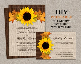 Fall Sunflower Wedding Invitations With RSVP Cards, DIY Printable Fall Leaves Wedding Invitation Sets, Fall Leaves Wedding Invites