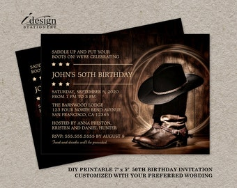 Country Western 50th Birthday Party Invitation With Cowboy Boots, DIY Printable Wild West Rodeo Themed Invitations