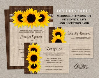 Rustic Country Sunflower Wedding Invitation Sets Including Invite RSVP And Reception Invitation, DIY Printable Wedding Invitations Kit