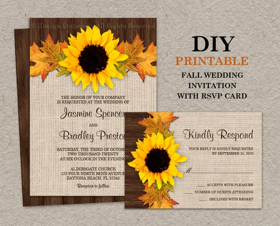 Fall sunflower wedding invitations with rsvp cards diy for Etsy engagement party invites