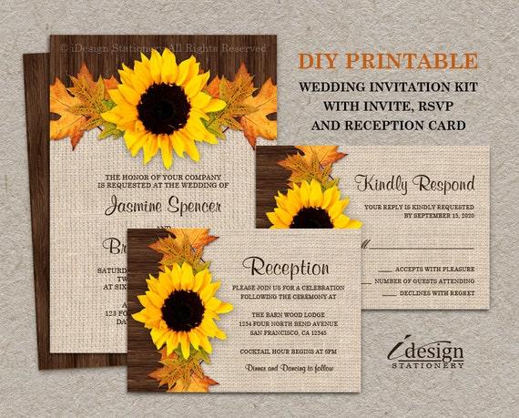 Partecipazione Matrimonio Girasoli : Invito a nozze girasole autunno rustico imposta con foglie