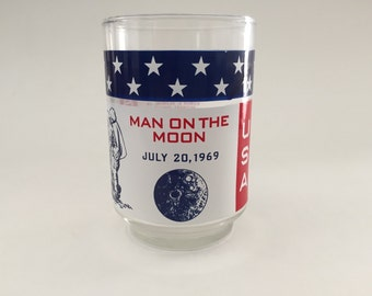 Vintage Man on the Moon 1969 Drinking Glass, Great Condition