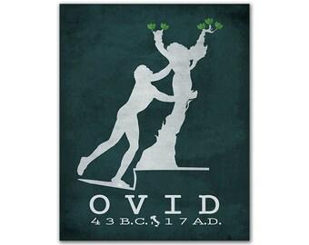 Ovid Metamorphoses Apollo Hunting Daphne - Greek Mythology Roman Poetry Gods Bookish Artwork Literary Gifts Reading Room Decor Roman Author