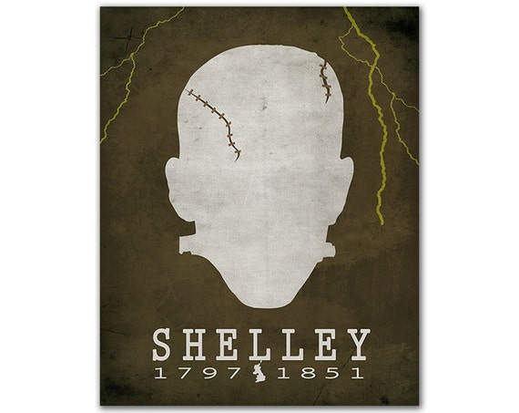 Mary Shelley Frankenstein - Horror Modern Prometheus Lightning Electricity Back From Dead Book Lover Gift Literary Decor English Author